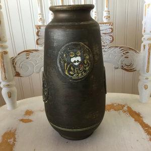 Midcentury Japanese Owl & Bird Pottery Vase